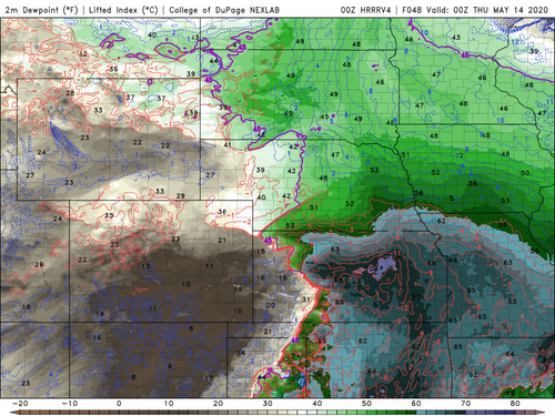 HRRR 00Z Dewpoint North Kansas.png